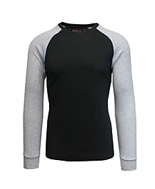 Men's Long Sleeve Thermal Shirt with Contrast Raglan Trim on Sleeves