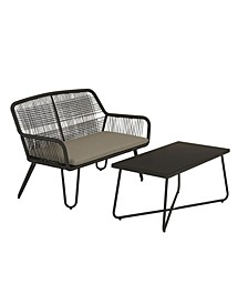 Novogratz Poolside Collection Marli Outdoor Loveseat And Coffee Table Set