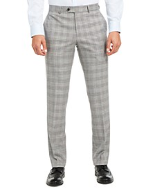 Men's Slim-Fit Active Stretch Performance Black/White Houndstooth Plaid Suit Separate Pants, Created for Macy's
