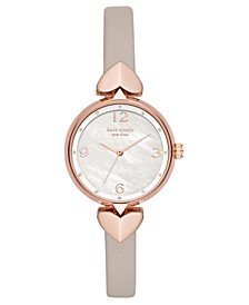 Women's Hollis Warm Gray Leather Strap Watch 30mm