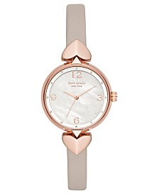 Kate Spade New York Women's Hollis Warm Gray Leather Strap Watch 30mm