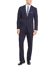 Men's Slim-Fit Stretch Medium Blue Check Suit