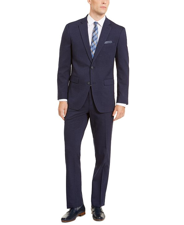 Perry Ellis Men's Slim-Fit Stretch Medium Blue Check Suit