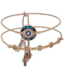 lonna & lilly Gold-Tone 2-Pc. Set Crystal & Stone Evil Eye Slider Bracelets