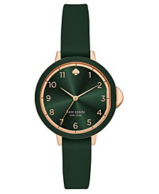 Women's Park Row Green Silicone Strap Watch 34mm