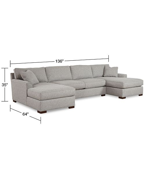 Peachy Carena 3 Pc Fabric Sectional Sofa With Double Chaise Created For Macys Pabps2019 Chair Design Images Pabps2019Com