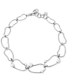 """Stainless Steel Imitation Pearl Graduated Link 18"""" Statement Necklace"""