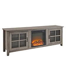 Farmhouse Wood Fireplace TV Stand with Glass Doors