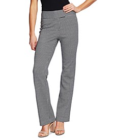 Houndstooth-Print Career Pants