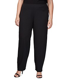 Plus Size Slim-Leg Crepe Pants