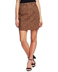 Leopard-Print Twill Skirt
