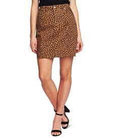 CeCe Leopard-Print Twill Skirt