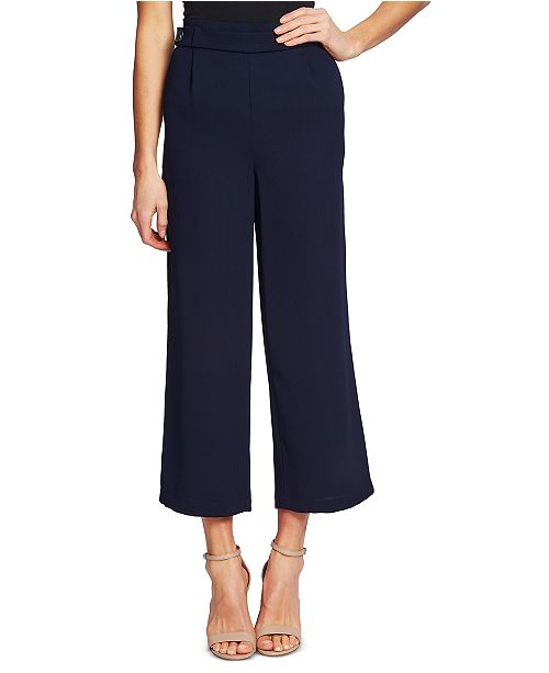 CeCe Cropped Wide-Leg Crepe Pants