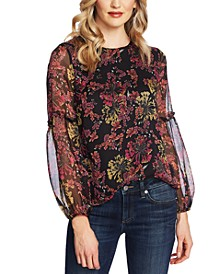Sheer-Contrast Floral-Print Top