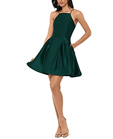 Petite Halter Fit & Flare Dress