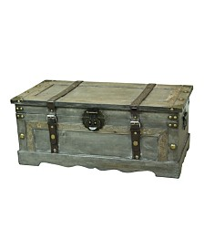 Vintiquewise Rustic Gray Large Wooden Storage Trunk