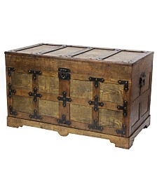 Vintiquewise Rustic Natural Wooden Streamer Trunk with Studded detail, Large