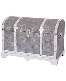 Vintage Faux Crocodile Leather Metallic Silver Trunk with Belted Strap
