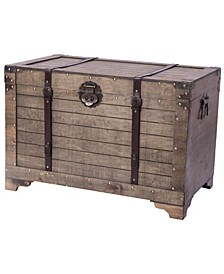 Old Fashioned Large Natural Wood Storage Trunk and Coffee Table