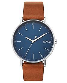 Men's Signatur Cognac Leather Strap Watch 45mm