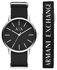 A|X Armani Exchange Men's Cayde Black Nylon Strap Watch 42mm Gift Set