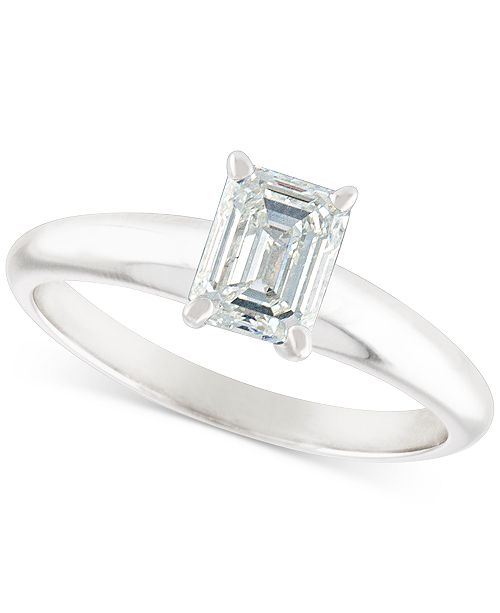 Macy's Certified Diamond Emerald-Cut Solitaire Engagement Ring (1 ct. t.w.) in 14k White Gold