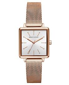 A X Armani Exchange Women's Lola Rose Gold-Tone Stainless Steel Mesh Bracelet Watch 30mm