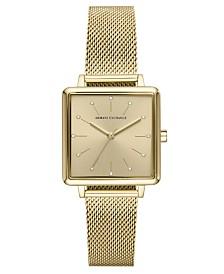 A X Armani Exchange Women's Lola Gold-Tone Stainless Steel Mesh Bracelet Watch 30mm