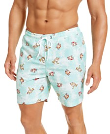"Club Room Men's Classic-Fit Graphic-Print 7"" Twill Swim Trunks, Created for Macy's"
