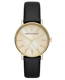 A X Armani Exchange Women's Lola Black Leather Strap Watch 36mm