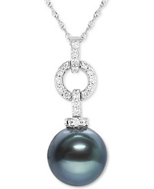 "Black Tahitian Pearl (10mm) & Diamond (1/4 ct. t.w.) 18"" Pendant Necklace in 14k White Gold"