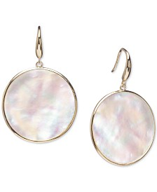 Mother-of-Pearl Bezel-Set Drop Earrings in 14k Gold-Plated Sterling Silver