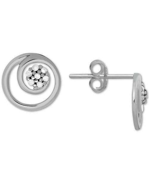 Macy's Diamond (1/10 ct. t.w.) Swirl Illusion Stud Button Earrings in Sterling Silver