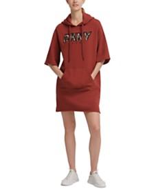 DKNY Sport Printed-Logo Hoodie Dress