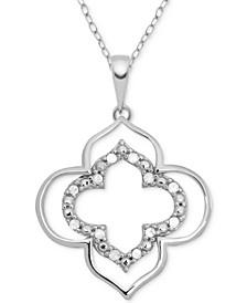 "Diamond (1/10 ct. t.w.) Open Design 18"" Pendant Necklace in Sterling Silver"