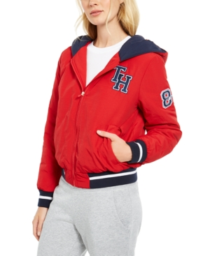 80s Windbreakers, Jackets, Coats Tommy Hilfiger Sport Varsity Hoodie Jacket $77.40 AT vintagedancer.com