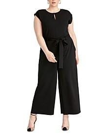 Trendy Plus Size Esme Belted Keyhole Jumpsuit
