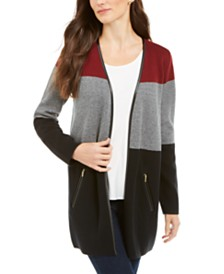 Charter Club Petite Milano Colorblocked Cotton Completer Sweater, Created for Macy's