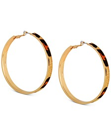 Large Gold-Tone Cheetah Faux Fur Animal Print Hoop Earrings 2-1/2""