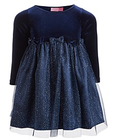 Little Girls Velvet Glitter Dress