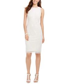 Adrianna Papell Beaded Halter Sheath Dress