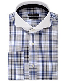 Men's Classic/Regular Fit Blue Plaid French Cuff Dress Shirt