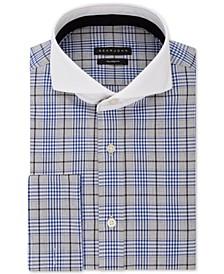 Men's Classic/Regular Fit Blue Plaid French Cuff Dress Shirt