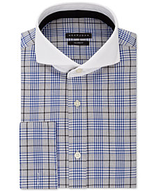 Sean John Men's Classic/Regular Fit Blue Plaid French Cuff Dress Shirt