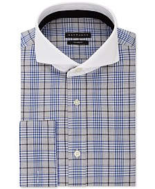 Sean John Men's Classic/Regular Fit Blue Plaid French Cuff Dress Shirt