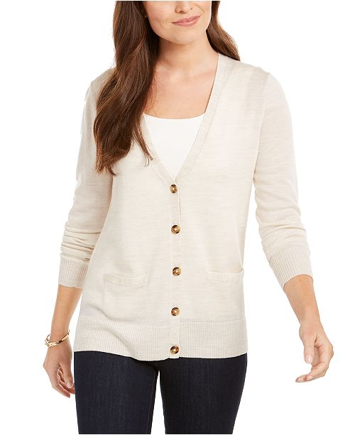 Charter Club Merino Wool V-Neck Cardigan, Created for Macy's