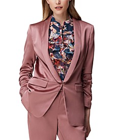 Scrunched-Sleeve Satin Jacket