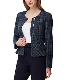 Tahari ASL Petite Plaid Tweed Peplum Jacket