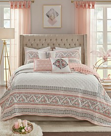 Madison Park Moria King/California King 6-Pc. Cotton Printed Clip Jacquard Reversible Coverlet Quilt Set