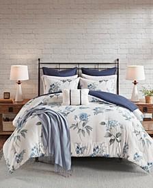 Zennia King/California King 7-Pc. Printed Seersucker Comforter Set with Throw Blanket